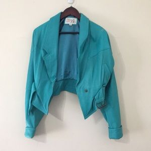 VINTAGE 80s TEAL LEATHER JACKET